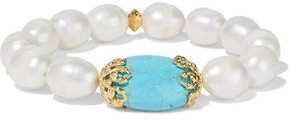 Bounkit Gold-tone Pearl And Turquoise Bracelet