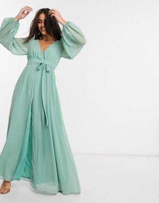 Goddiva v neck maxi dress with split in sage green