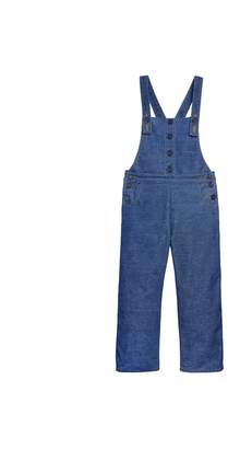 Oscar de la Renta Embroidered Denim Corduroy Overalls
