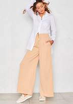 Missy Empire Sonya Nude Palazzo Gold Zip Trousers