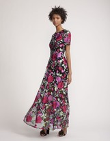 Cynthia Rowley Embroidered Mesh Maxi Dress