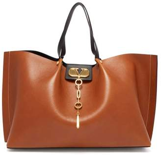 Valentino Escape V-logo Large Leather Tote Bag - Womens - Tan
