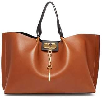 Valentino V-logo Escape Large Leather Tote Bag - Womens - Tan