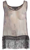 Pretty Angel Women's Blouses BK/GY - Black & Gray Sheer Fringe-Trim Silk-Blend Scoop Neck Tank - Women