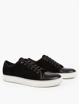 Lanvin Black Suede Toe-Cap Sneakers