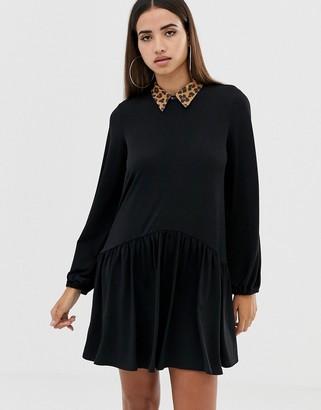 Asos Design DESIGN mini smock dress with leopard collar-Black