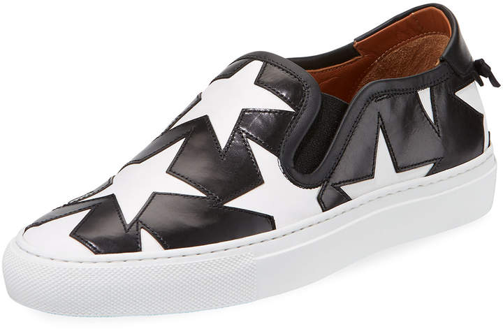 Givenchy Star Leather Low-Top Skate Sneakers, Black/White