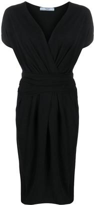 Prada Pre Owned 1990s Gathered Knee-Length Dress