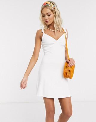 ASOS DESIGN ribbed cami mini sundress in white