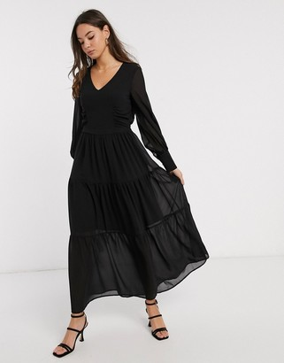 Vero Moda maxi dress with v neck and tiered skirt in black