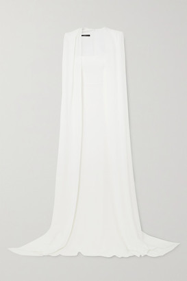 Alex Perry Vance Cape-effect Crepe Gown - White