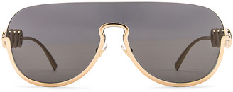 Versace Medusa Shield Sunglasses in Grey & Gold | FWRD