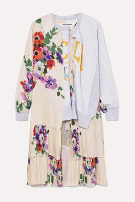 Junya Watanabe Paneled Printed Stretch-cotton Jersey And Satin Top - Gray