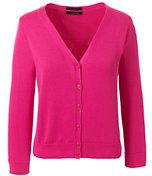 Lands' End Women's Petite 3/4 Sleeve Supima Dress Cardigan Sweater-Rich Sapphire