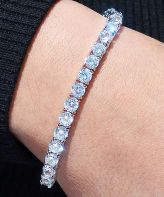 Swarovski Golden Moon Women's Bracelets Silver - Silvertone Round-Cut Tennis Bracelet With Crystals