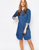 Warehouse Denim Frayed Hem Shirt Dress