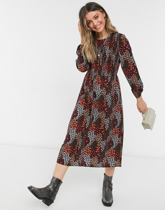Pieces midi smock dress with puff sleeves in dark red ditsy floral