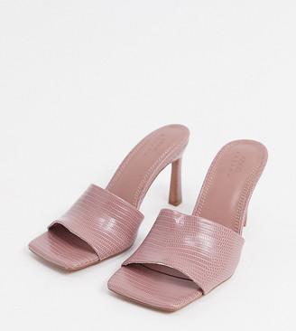 ASOS DESIGN Wide Fit Hattie mid-heeled mule sandals in blush lizard