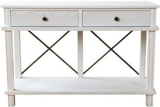 One World Harvest 2 Drawer Console White