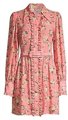Michael Kors Women's Floral Silk Ruffled Shirtdress