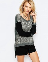 Vintage Havana Gray Marl Sweater With Contrast Sleeves And Fly Back