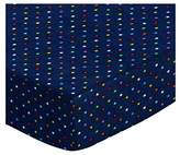 686 SheetWorld Fitted Basket Sheet - Primary Colorful Pindots Navy Woven - Made In USA - 13 inches x 27 inches (33 cm x cm)