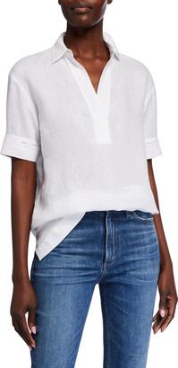 Lafayette 148 New York Jessica Sublime Linen Short-Sleeve Blouse