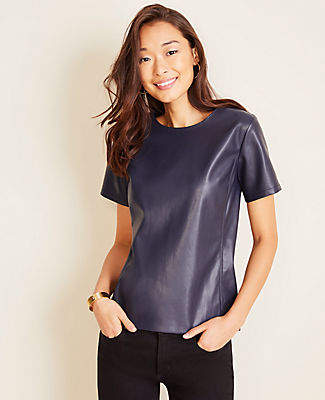 Ann Taylor Faux Leather Ponte Tee