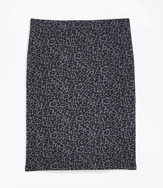 LOFT Tall Leopard Print Pull On Pencil Skirt