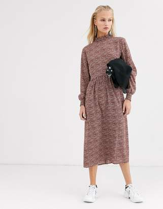 Only midi dress with high neck in brown mixed spot