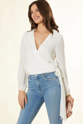 Abbeline Pleated Ruffle Wrap Blouse Ivory XS
