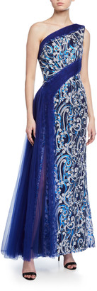 Tadashi Shoji One-Shoulder Sequin-Lace Draped Tulle Gown