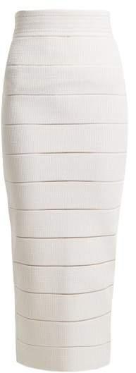 Balmain Striped Stretch Knit Midi Skirt - Womens - White Silver