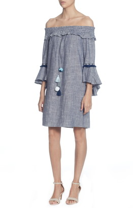 Catherine Malandrino Off the Shoulder Tassel Tie Cotton Dress