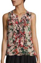 Joie Effa Floral Print Silk Ruffle Blouse