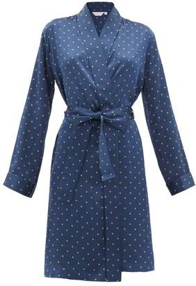Derek Rose Brindisi Star-print Silk-charmeuse Robe - Womens - Navy Print