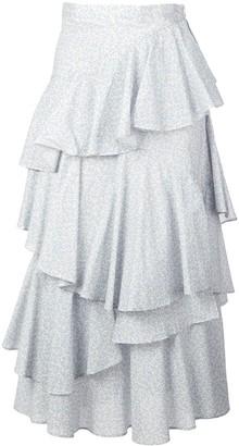 ALEXACHUNG Tiered Ruffle Skirt