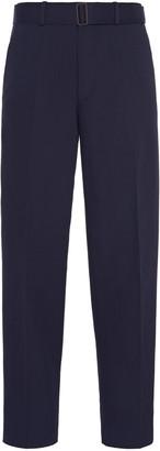 Ermenegildo Zegna Belted Cotton-Blend Straight-Leg Trousers
