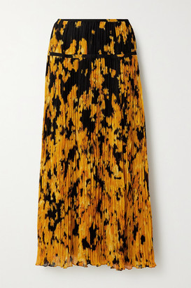 Altuzarra Kemmaren Printed Plisse-georgette Midi Skirt - Orange