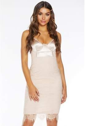 Quiz Champagne Satin Lace Strappy Midi Dress