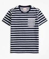 Brooks Brothers Fun Stripe Slub Cotton Jersey Pocket T-Shirt