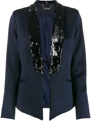 Styland Contrast-Lapel Embellished Blazer