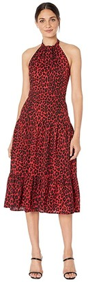 Sam Edelman Leopard Halter Neck Maxi (Red Leopard) Women's Dress