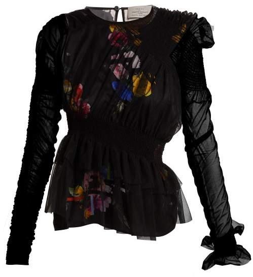 Preen by Thornton Bregazzi Martine Asymmetric Smocked Tulle Top - Womens - Black Multi