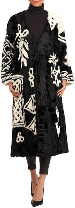 Oscar de la Renta Lamb-Intarsia Velvet Short Coat