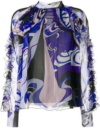 Emilio Pucci Hanami Print High Neck Silk Ruffled Blouse