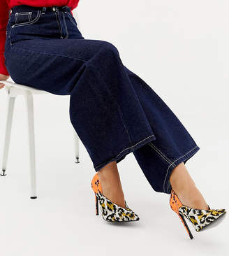 Asos Design DESIGN Wide Fit Putty pointed high heeled court shoes in leopard floral print-Multi