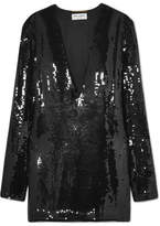 Saint Laurent Sequined Tulle Mini Dress - Black