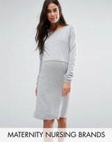 Mama Licious Mama.licious Mamalicious Nursing Double Layer Knitted Long Sleeve Dress