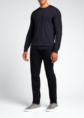 Giorgio Armani Men's Solid Crew Sweater w/ Mesh Detail